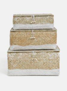 Bielo-hnedá súprava troch košíkov z morskej trávy Kaemingk