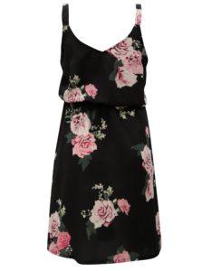 Čierne kvetované šaty na ramienka ONLY Bloom