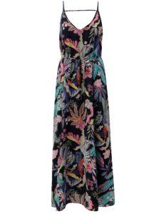 Tmavomodré kvetované maxišaty na ramienka ONLY Malibu