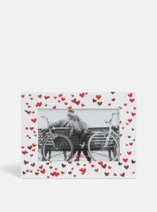 Biely drevený fotorámček s motívom srdiečok Kaemingk Bench