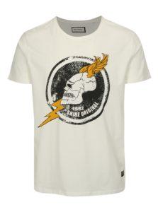 Biele tričko s potlačou lebky Shine Original