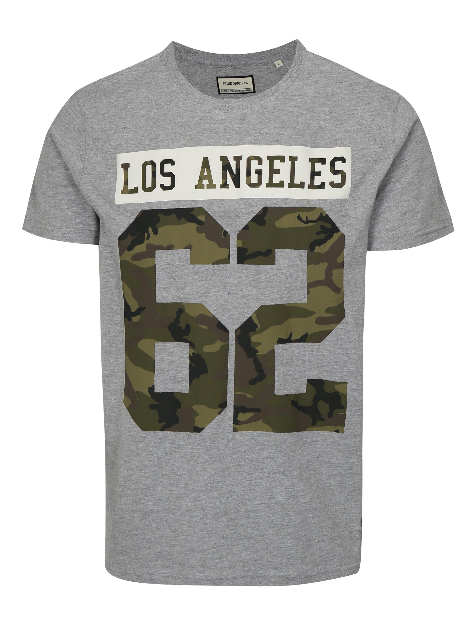 e6a5264fc2dd Sivé tričko s potlačou Los Angeles Shine Original