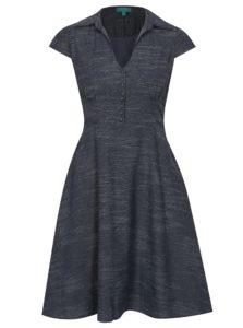 Tmavomodré melírované ľanové šaty Fever London Harlow