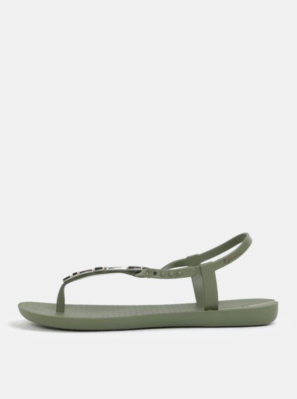 Kaki sandálky s ozdobou v zlatej farbe Ipanema Charm V