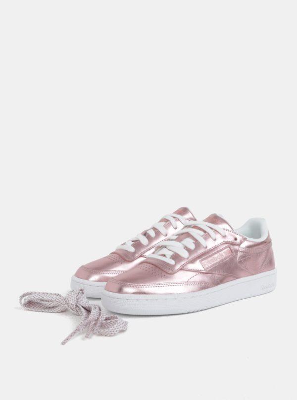 d6a0c9eeaec47 Ružové dámske metalické kožené tenisky Reebok Club C 85 | Moda.sk