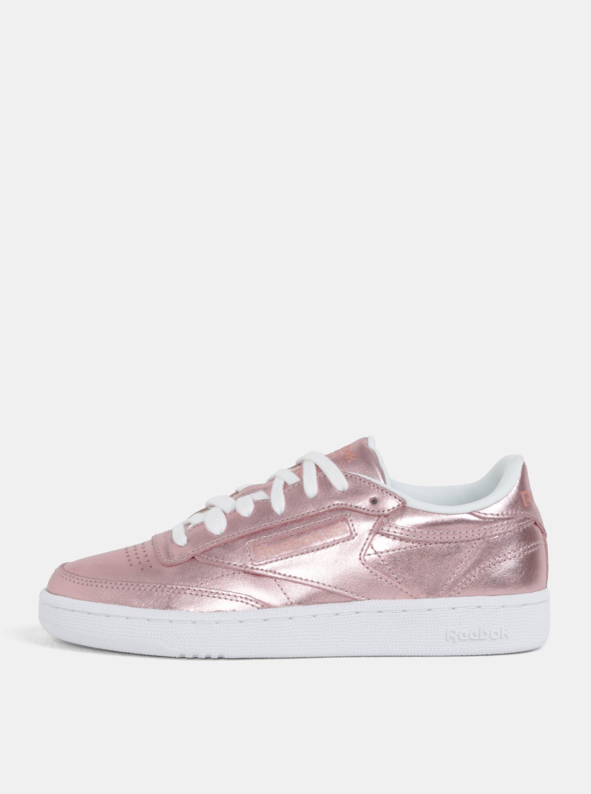 32131801fa3 Ružové dámske metalické kožené tenisky Reebok Club C 85