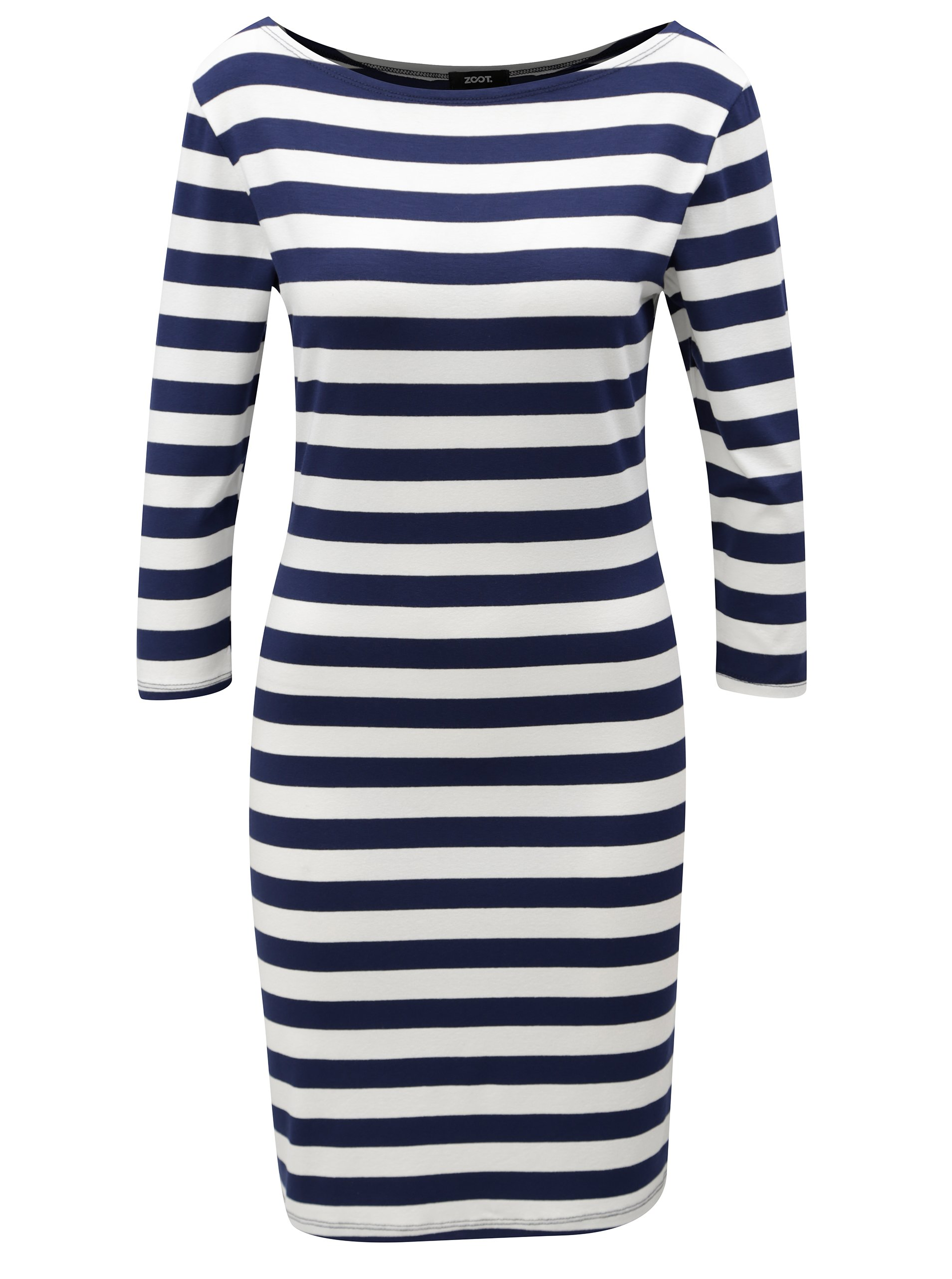 Modro-biele pruhované šaty s 3 4 rukávom ZOOT  4275874d034