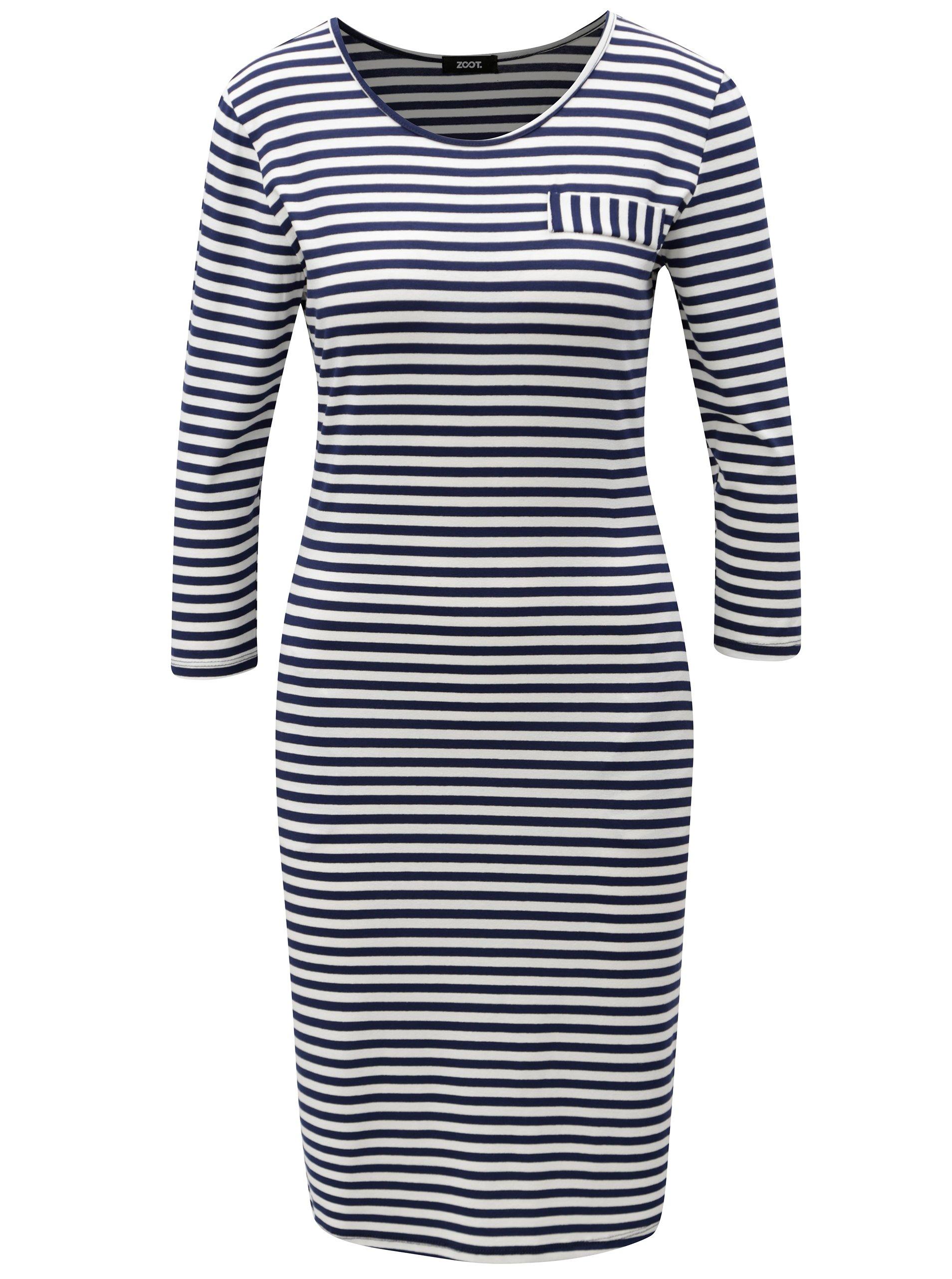 Modro-biele pruhované šaty s vreckami ZOOT  5870d5f8392