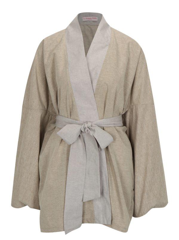 Béžové kimono s nášivkou na chrbte La femme MiMi