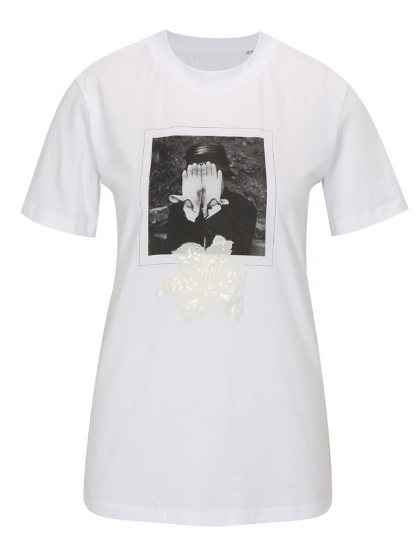 Biele tričko s potlačou La femme MiMi