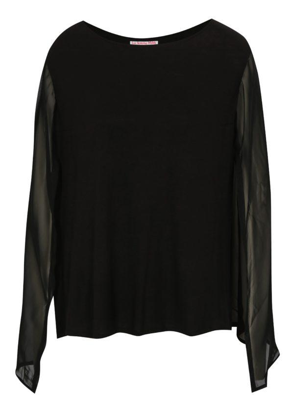 Čierna blúzka s priesvitnými rukávmi La femme MiMi