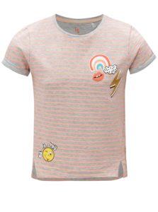 Oranžovo-sivé pruhované dievčenské tričko s potlačou 5.10.15.