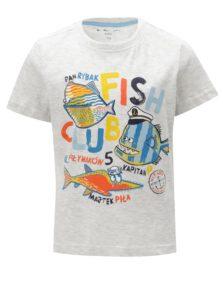 Svetlosivé melírované chlapčenské tričko s potlačou 5.10.15.