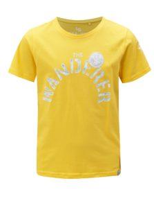 Žlté chlapčenské tričko s potlačou a nášivkou 5.10.15.