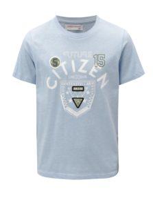 Svetlomodé chlapčenské melírované tričko s potlačou 5.10.15.