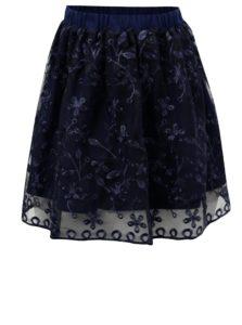 Tmavomodrá sukňa s kvetovanou výšivkou 5.10.15.