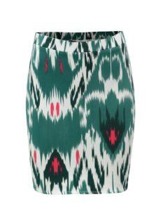 Bielo-zelená vzorovaná puzdrová sukňa VERO MODA Marrakech