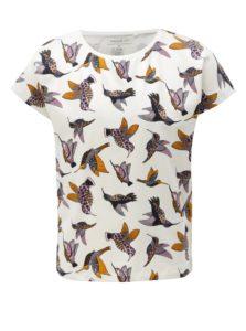 Biele dievčenské tričko s potlačou vtákov name it Vilske