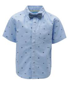 Modrá chlapčenská vzorovaná košeľa s motýlikom 5.10.15.