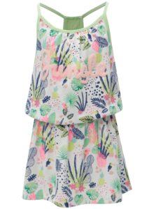Zeleno-biele dievčenské vzorované šaty s čipkou 5.10.15.