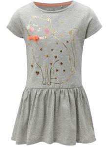 Sivé dievčenské melírované šaty s potlačou 5.10.15.