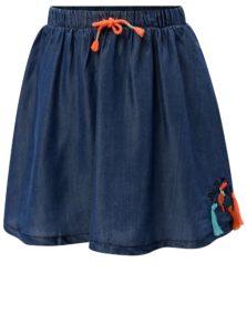 Modrá dievčenská rifľová sukňa s nášivkou a strapcami 5.10.15.