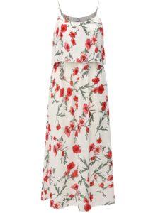 Biele kvetované midišaty na ramienka Haily´s Fiona