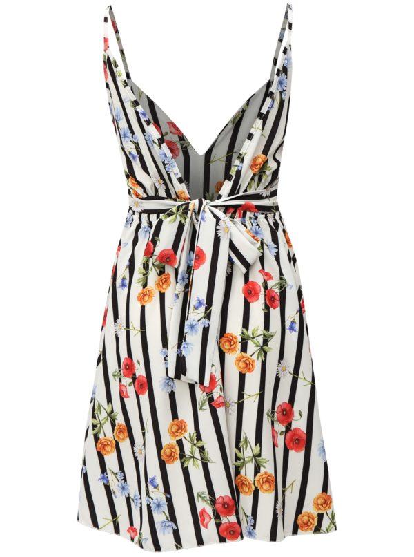 Biele pruhované šaty s kvetovaným vzorom Haily´s Amelia