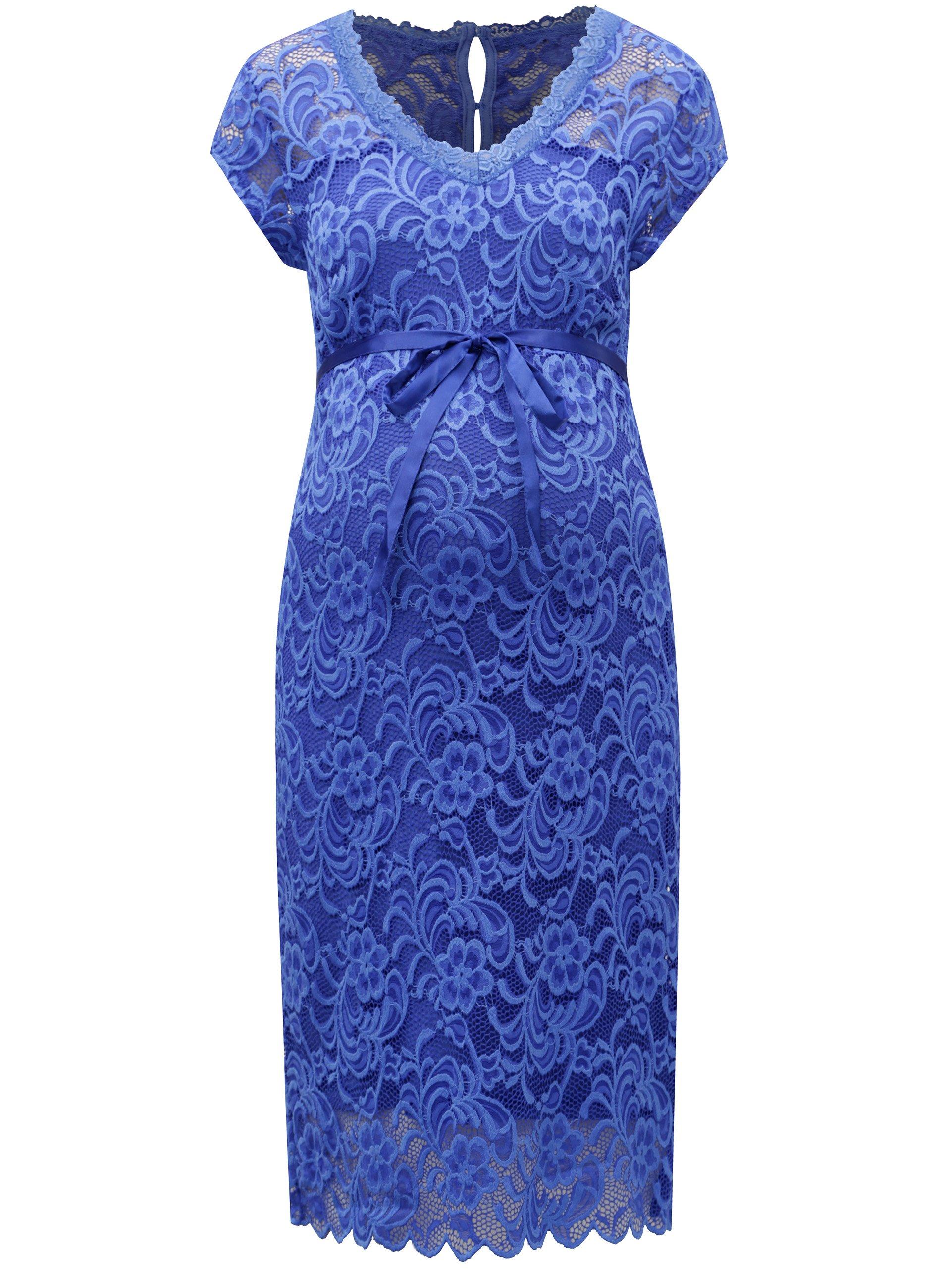 b2040fd4d Modré čipkované tehotenské šaty Mama.licious New mivana   Moda.sk