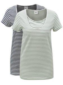 Súprava dvoch tričiek pre tehotné a dojčiace mamičky v modrej a zelenej farbe Mama.licious Lou