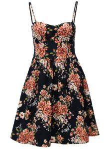 Tmavomodré kvetované šaty na ramienka Haily´s Giulia
