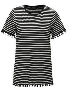 debe0d59614c Bielo-čierne pruhované tričko s brmbolcami Dorothy Perkins
