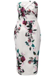 Svetlosivé kvetované puzdrové šaty bez ramienok Dorothy Perkins
