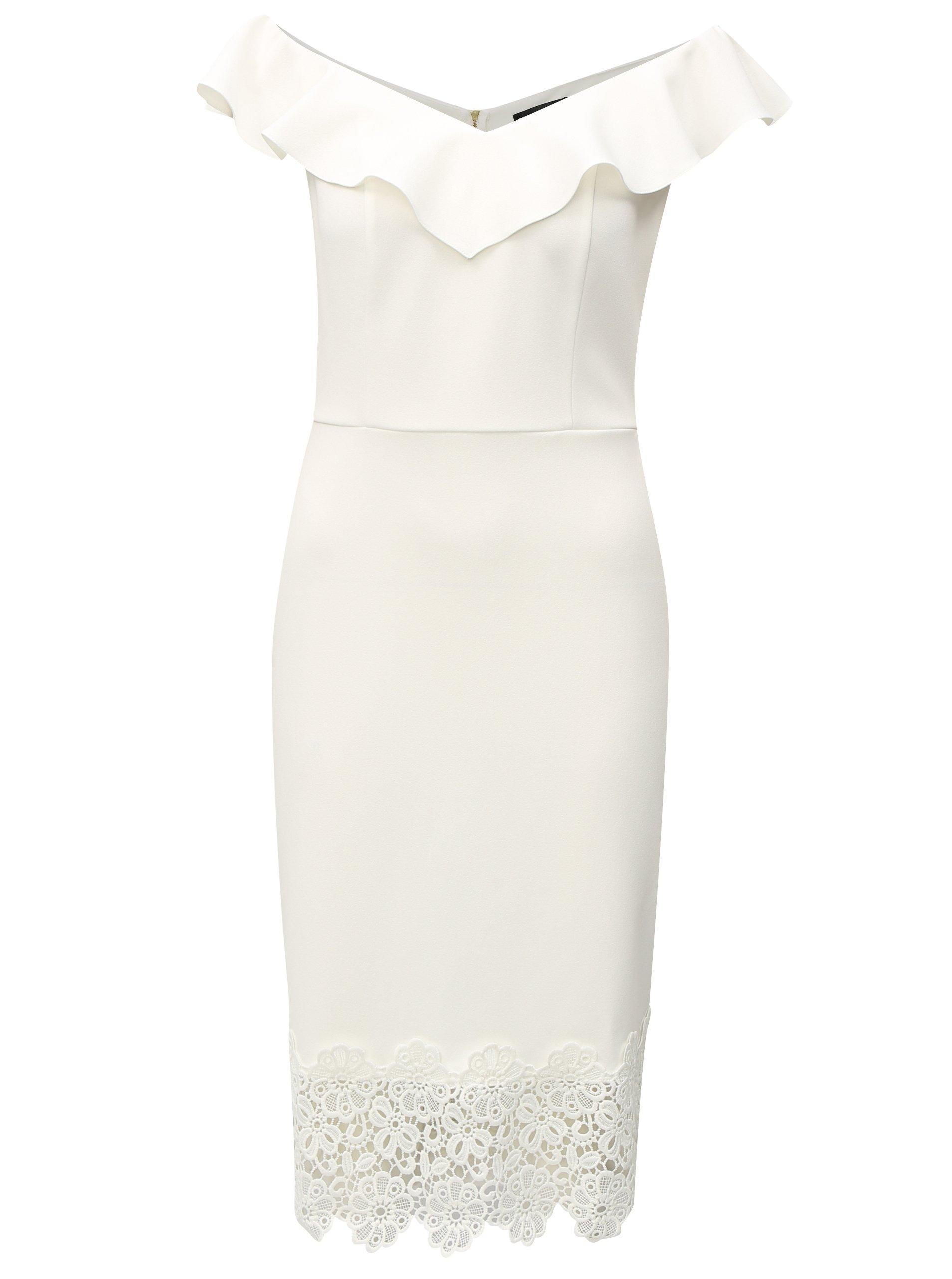 99f0241f33c8 Biele šaty s čipkou a s lodičkovým výstrihom Dorothy Perkins