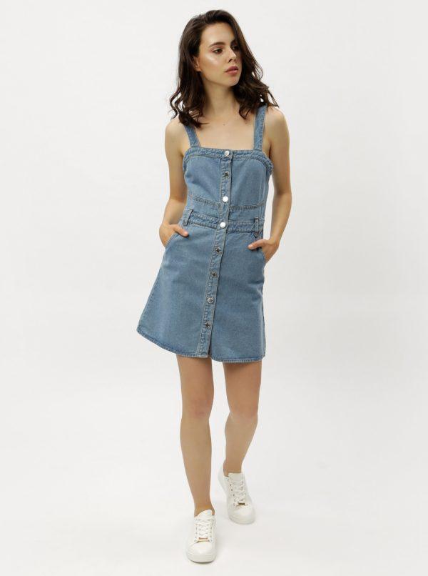 08738ef28990 Modré rifľové šaty s gombíkmi Miss Selfridge