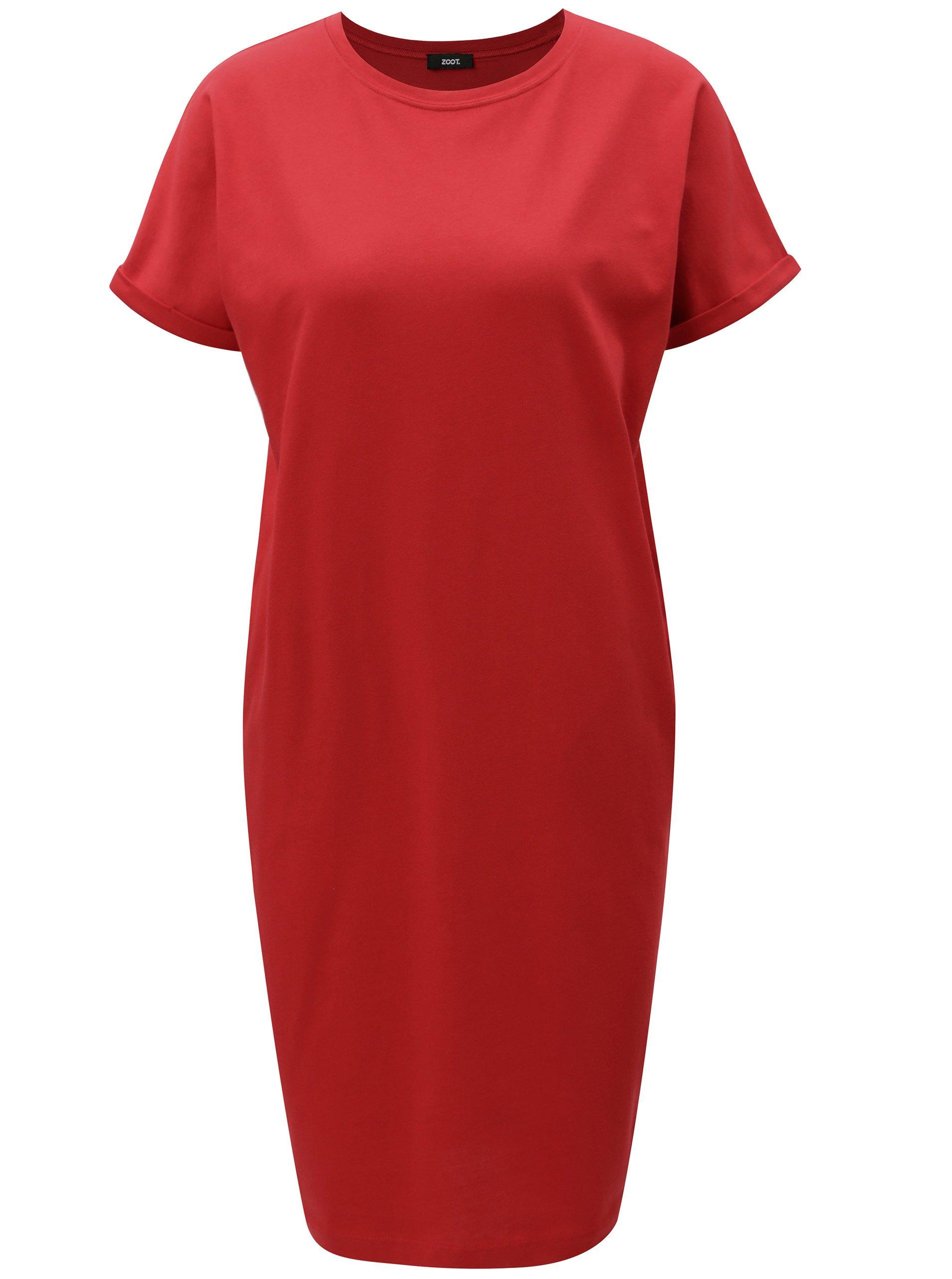 Červené puzdrové šaty s vreckami ZOOT  8c25cad6ad8