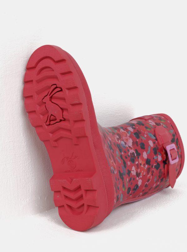 Ružové dievčenské kvetované gumáky Tom Joule Welly