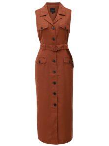 Hnedé košeľové šaty s textilným opaskom Selected Femme Linny
