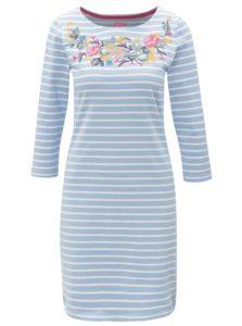 Krémovo–modré dámske pruhované šaty s výšivkou Tom Joule Riviera