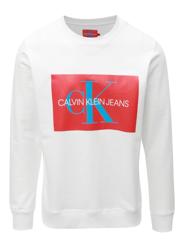 Červeno-biela pánska mikina s potlačou Calvin Klein Jeans