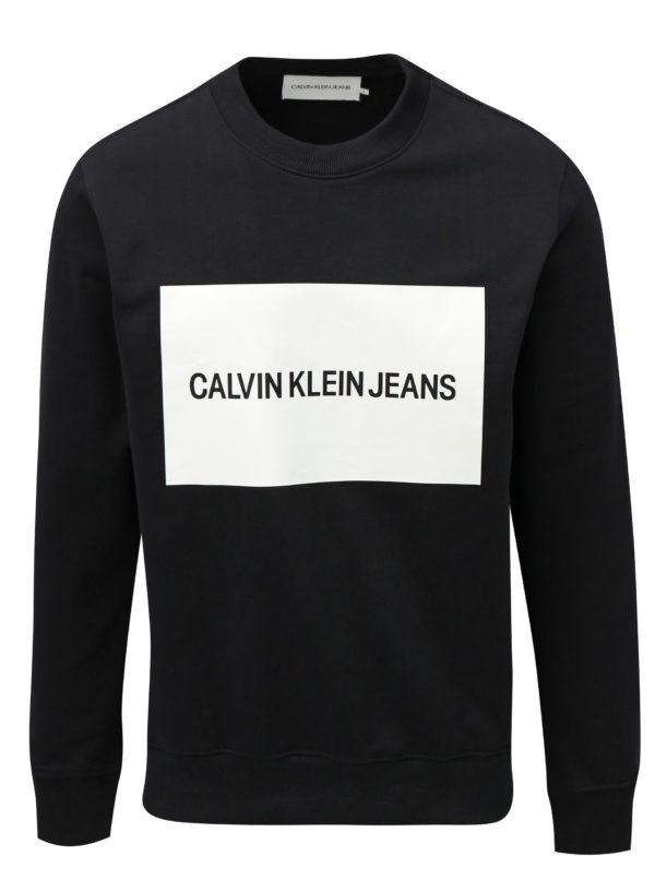 Čierna pánska mikina s potlačou Calvin Klein Jeans