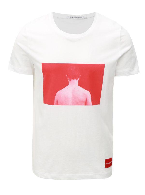 Červeno-biele pánske tričko s potlačou a nášivkou Calvin Klein Jeans