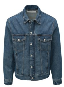 Modrá pánska rifľová bunda s koženou nášivkou Calvin Klein Jeans