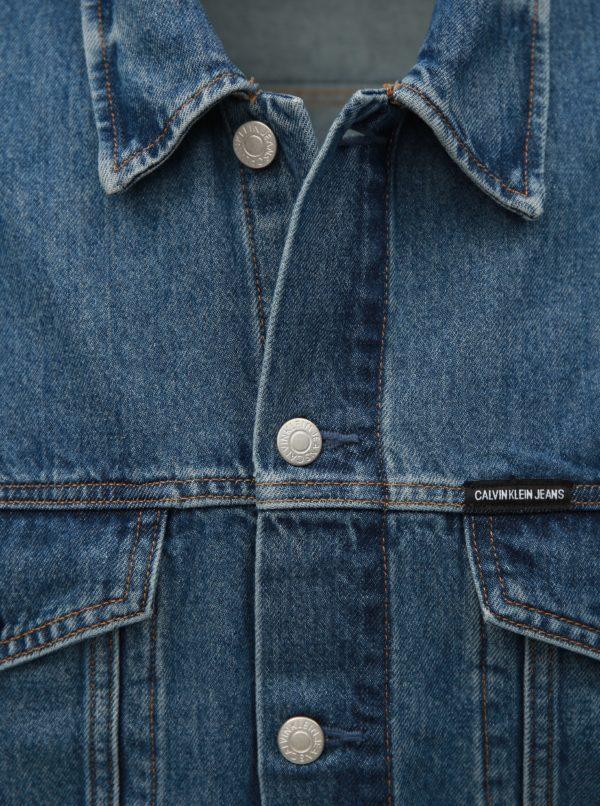 8765d8f0d Modrá pánska rifľová bunda s koženou nášivkou Calvin Klein Jeans ...
