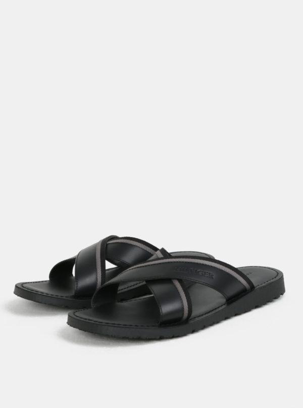 Čierne pánske kožené šľapky Tommy Hilfiger  745c7e7501