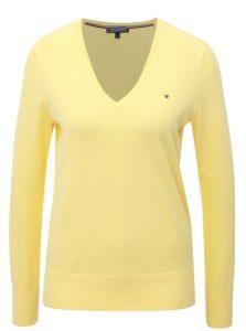 9c3ef33083 Žltý dámsky sveter s véčkovým výstrihom Tommy Hilfiger