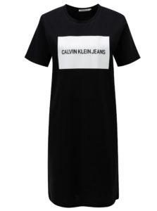 Čierne tričkové šaty s krátkym rukávom Calvin Klein Jeans