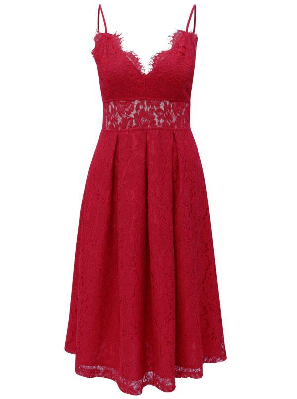 Červené čipkované šaty MISSGUIDED