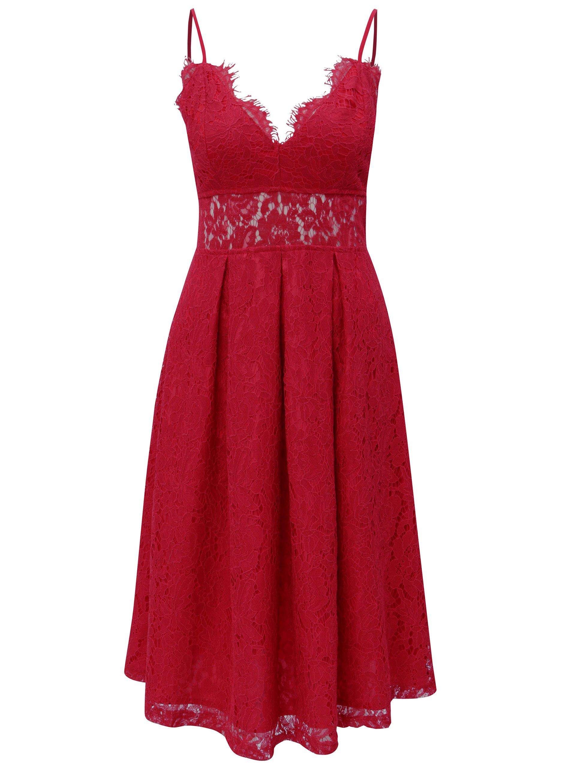 e8a4f261e431 Červené čipkované šaty MISSGUIDED