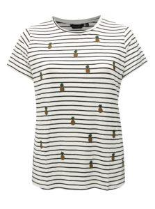 Čierno-biele pruhované tričko s výšivkami Dorothy Perkins Curve